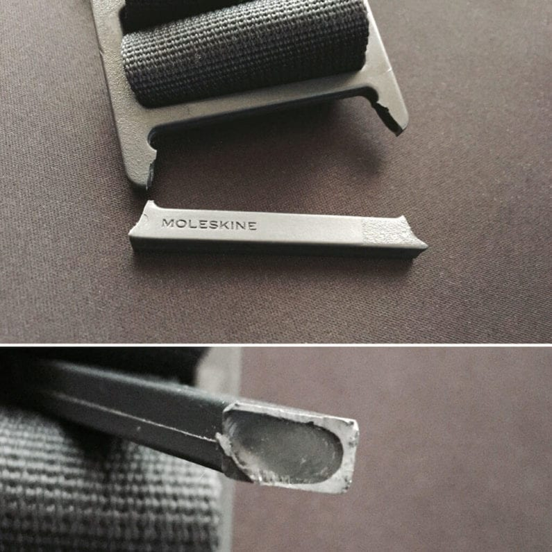 Broken buckle from Moleskine Mycloud Messenger Bag